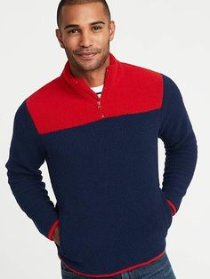 820be12762a Old Navy Color-Blocked 1 4-Zip Sherpa Popover for Men