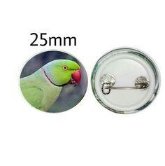 Indian Ringneck Parakeet 25mm Button Pin Badge (PG-01050) Parakeet, Pin Badges, Parrot, Buttons, Indian, Gifts, Parrot Bird, Presents, Parakeets