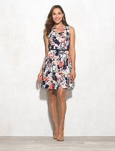 Belted Tropical Floral Dress