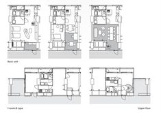 Floor Plans, Shinome Canal Court, Riken, Yamamoto, & Associates, Architects, Tokyo, Japan