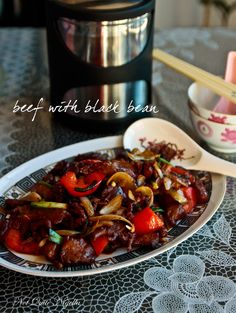 Beef Black Bean Sauce (Marinade 3 or 4 hours. Use 2/3 tin mostly drained black beans, also add 3 or 4 sliced chestnut mushrooms. Make double sauce for 1lb beef)