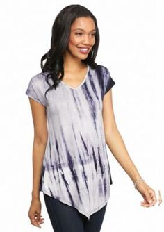 New Directions  Lace Back Tie Dye Pointed Hem Tee