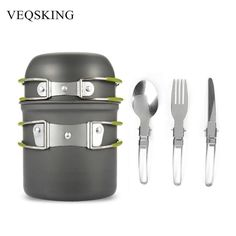 Buy Aluminum Alloy Hiking Picnic Tourist Tableware Set With Folding Spoon Fork Knife Non-stick Pot Pan Outdoor Camping Trip Cookware