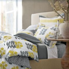 High & Low: 10 Favorite Bedding Stores Weekend Shoppers Guide. Love the gray and yellow bedding.