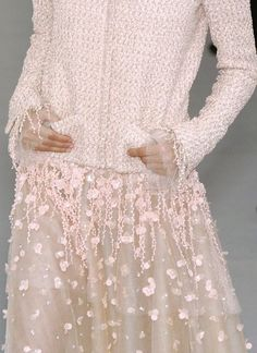Chanel Spring collection - I have this beautiful pale pink uber feminine gorgeous pink ensemble pinned way below, but this is the front details shot of one of my fave pieces, so I wanted to share this.