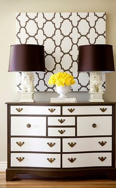 Love the contrast on the dresser: painting our old (and ugly) bedroom set in about a month. Now thinking black sides and handles with white drawers.