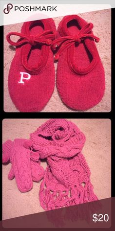 Victoria's Secret Slippers & NWOT Gloves and Scarf Bundle for lightly used Victoria's Secret Slippers and NWOT set of a scarf and gloves. PINK Victoria's Secret Accessories Gloves & Mittens