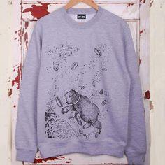 Yum Yum Space Unisex Grey Sweatshirt  #mensstyle #fashion #grizzlybear #illustration #bear #giftsforhim #winter