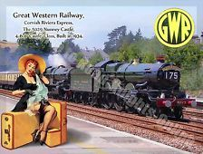 Nunney Castle, 5029 Steam Train, Gwr Railway, Pin Up Girl, Medium Metal/Tin Sign Train Posters, Railway Posters, Rockabilly Cars, Train Art, Great Western, Tin Signs, Metal Signs, Advertising Signs, Vintage Travel Posters