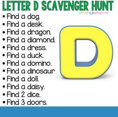 Letter D Scavenger Hunt - Pre K Activities, Indoor Activities For Kids, Alphabet Activities, Preschool Activities, Summer Activities, Family Activities, Outdoor Activities, Teaching Letters, Preschool Letters