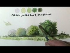A nice one to practice....How to paint trees & bushes in watercolor lessons by Dennis Clark