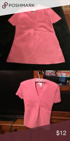 Knit pink short sleeved top Beautiful pink knit ( 70 percent cotton & 30 percent nylon) short sleeved stretchy top that overlaps at the top.  Gently worn. August Silk Tops Blouses