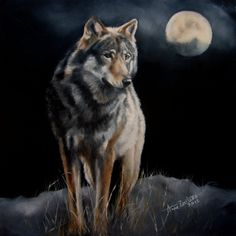 Hunter's Moon - FOR SALE wolf and moon original oil, painting by artist Anne Zoutsos