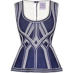 Herve Leger Becca Diamond Plaited Jacquard Top ($1,440) ❤ liked on Polyvore featuring tops, woven top, diamond tops, bandage top, hervé léger and jacquard top