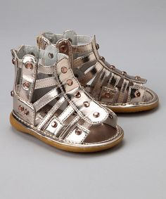41793137a86b Take a look at this Gold Metallic Squeaker Gladiator Sandal by WeeSqueak on   zulily today
