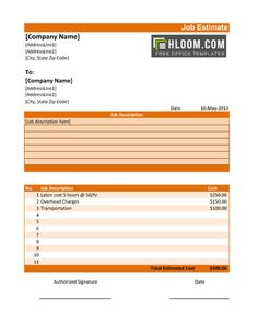 Excel Work Estimate Invoice Template Key 11 Job Templates And Quotes Word