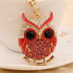 Hibou Owl Porte-clés Bijoux de Sac Charm Rhinestones