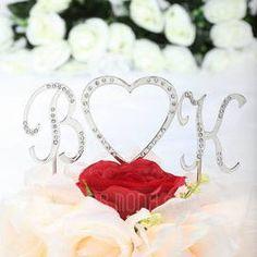 Monogram/Heart Chrome Wedding Cake Topper (119030807) - AmorModa