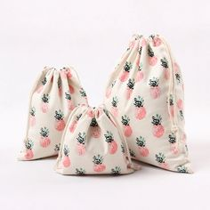 New Natural Cotton Canvas Travelling Clothing Sorted Pouch String Closure Multi-purpose Bag Print Pineapple Size-choosing N224