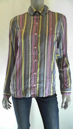 TOMMY HILFIGER Misses Womens Long Sleeve Button-Down Top SZ M Striped Sale US #TommyHilfiger #ButtonDownShirt #Career
