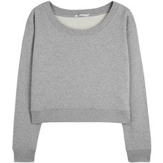 T by Alexander Wang Grey cropped French terry sweatshirt ($235) ❤ liked on Polyvore featuring tops, hoodies, sweatshirts, grey crop top, gray crop top, gray sweatshirt, cut-out crop tops and wide neck tops