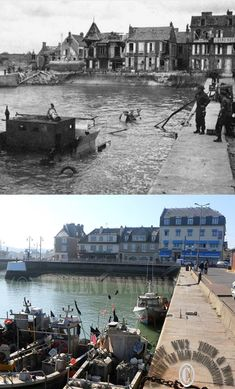 Then and now... Port-en-Bessin (© Normandy WW2 Then & Now)