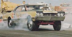 1966 Oldsmobile 442 Hurst Hairy Olds w/ Joe Shubeck at the wheel.