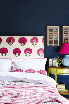 Madeline Weinrib Pink Carnation Suzani Fabric headboard with Pink Dodi Ikat bolster, photo by Rachel Whiting for House & Garden UK. Nice mix of pattern! Blue Rooms, Blue Bedroom, Bedroom Decor, Bedroom Ideas, Bright Bedroom Colors, Colourful Bedroom, Girls Bedroom, Decor Inspiration, My New Room