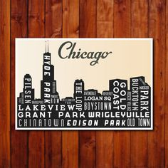 Chicago Skyline Typography, $22, now featured on Fab.