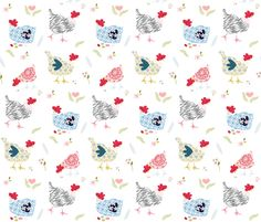 """Fancy Coop - White 7"""" fabric by shopcabin on Spoonflower - custom fabric"""