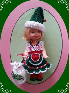 "Crochet Clothes Xmas Apron Cane Outfit for 4 ½"" Kelly Same Sized Dolls 
