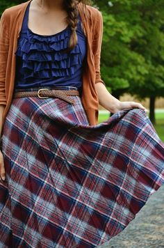 checkered skrit with ruffled blue shirt and burnt orange cardigan fall fashion