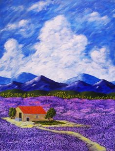 Lavender Farm ORIGINAL ACRYLIC PAINTING 30 x 40 by by MikeKrausArt