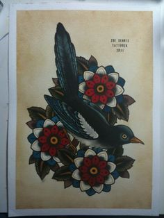 Zoe Tattoo Magpie drawing