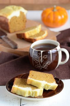 Cream cheese topped pumpkin bread