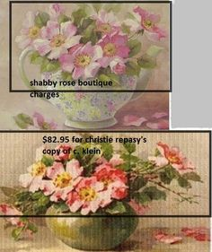it appears that christie repasy took klein's image of wild roses (klein's is on the bottom) and put them in a teacup. even the buds are in the same place.
