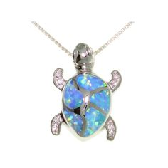 Jewelry Trends Sterling Silver Lab Created Blue Opal Turtle Pendant with Clear Pave CZ on 18 Inch Box Chain Necklace Cute Jewelry, Jewelry Gifts, Jewelery, Jewelry Necklaces, Sea Turtle Jewelry, Turtle Necklace, Jewelry Trends, Jewelry Accessories, Jewelry Design