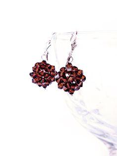 Swarovski crystal dangle earrings  brown Bead by JewelrybyFlorist, $40.00