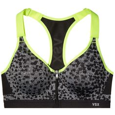 Victoria's Secret Incredible Front-close Sports Bra ($61) ❤ liked on Polyvore featuring activewear, sports bras, zipper front sports bra, padded sports bra, black sports bra, seamless sports bra and colorful sports bras