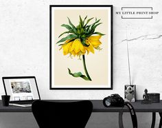 Vintage Yellow Flower, Botanical Print, Gift for Her, Flower Print, Flower Wall