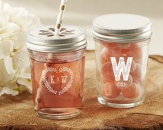 Personalized Printed Mason Jar - Rustic Wedding Collection (Set of 12)