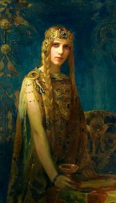 """The Pre-Raphaelite This is """"Isolde"""" by Gaston Bussière a French Symbolist painter and illustrator. Pre Raphaelite, Wow Art, Gaston, Beautiful Paintings, Art History, Amazing Art, Awesome, Fantasy Art, Art Nouveau"""