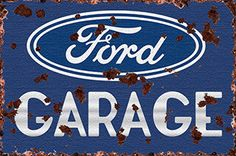 Rustic Classic Ford Garage Metal Advertising Sign, 4 Sizes Available, Vintage Style, Retro Reproduction, Garage Art, FREE Shipping FV-57 by HomeDecorGarageArt on Etsy