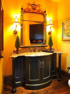 Mullet Cabinet - Beautiful Vanity featuring curved panel doors and columns.