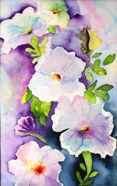 Original watercolor by Susan Marie Fairclough, Flower Chain, Unmatted 13X20