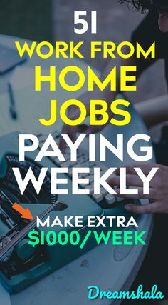 51 awesome jobs that will pay you every week. – Make Money from Home Work From Home Companies, Online Jobs From Home, Cash From Home, Earn Money From Home, Make Money Fast, Make Money Online, Legit Work From Home, Legitimate Work From Home, Work From Home Tips