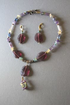 Collar y emparejar pendientesSet violeta por ValentinasArtJewelry