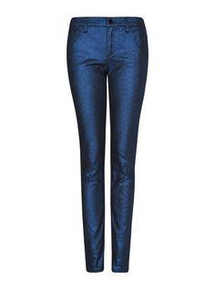 MANGO - Blue glitter slim jeans