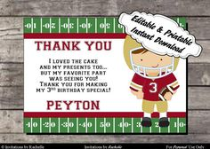 Football Birthday Thank You Card Gold and Red - Editable Printable Digital File with Instant Download