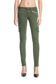 CARGO SKINNY JEANS IN WASHED DUSTY OLIVE  $138.00
